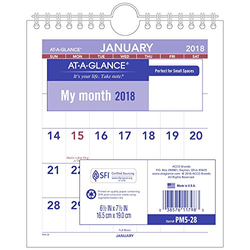 "AT-A-GLANCE Monthly Wall Calendar, January 2018 - December 2018, 6-1/2"" x 7-1/2"", Mini Size (PM528)"