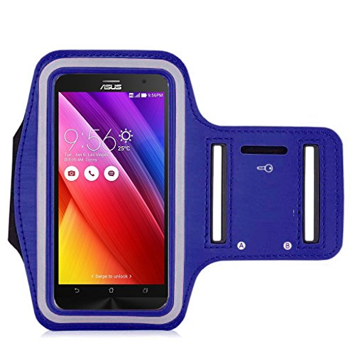 ASUS Zenfone 2 Armband, IVSO ® Sports Armband for ASUS ZenFone 2 ZE500CL 5.0 inch - Key holder Slot, Perfect Earphone Connection while Workout Running, (Blue)