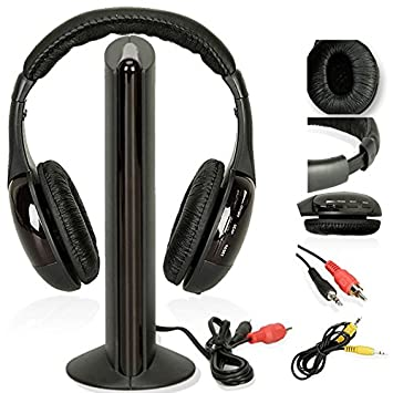 5 en 1 Audífonos Auriculares Inalámbricos RF inalámbricos con Micrófono para PC, TV, DVD, CD, MP3, MP4.: Amazon.es: Electrónica