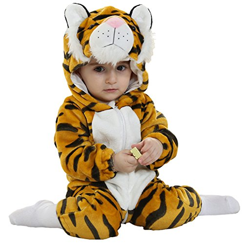 MerryJuly Toddler Unisex-Baby Halloween Costume Animal Onesie Outfit Tiger 70cm/3-6 Months]()