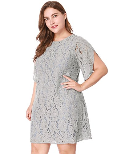 uxcell Women Plus Size Tulip Sleeves Floral Lace Shift Dress Gray 3X