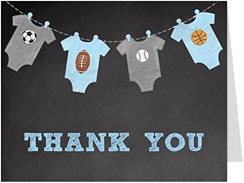 Tarjetas de agradecimiento deportivas, pizarra, baby shower, niños ...