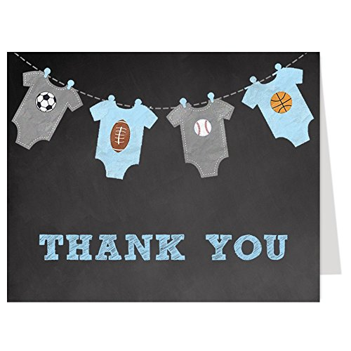 Sports Thank You Cards, Chalkboard, Baby Shower, Boys,