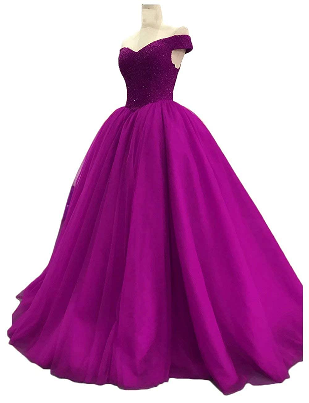 Fuchsia Womens Off The Shoulder Prom Dresses Long 2019 Beaded Tulle A Line Evening Formal Gowns Wedding Party Dresses