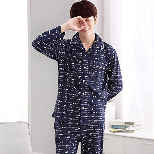 lkklily-men de manga larga para algodón pijama primavera y otoño chaqueta para jóvenes de algodón de los hombres casa hogar vestido Ropa Trajes: Amazon.es: ...