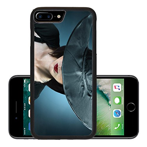 Luxlady Premium Apple iPhone 7 Plus Aluminum Backplate Bumper Snap Case iPhone7 Plus IMAGE ID: 34578837 Young woman in a witch costume her face covered with a hat