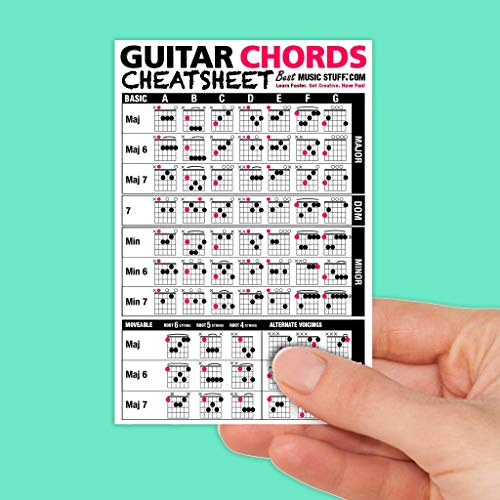 Best Music Stuff Guitar Chords Cheatsheet Laminated Pocket Reference (Small - 4-in x - Guitar Chord Chart