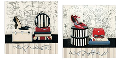 Gango Home Decor Trendy Couture Paris and London Map High-Heels and Accessories by Marco Fabiano; Two 11x14in Poster Prints