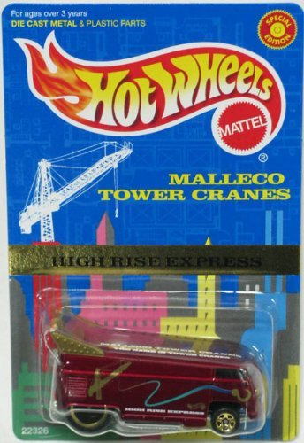 Hot Wheels - Special Edition - Malleco Tower Cranes - High Rise Express - VW (Volkswagen) Bus - Maroon Body Color Limited Edition 1:64 Scale Collectible Die Cast Car