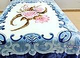 Vivalon Blue Roses (BM127) Thick Mink Plush Korean Style Queen Size Blanket - By Solaron