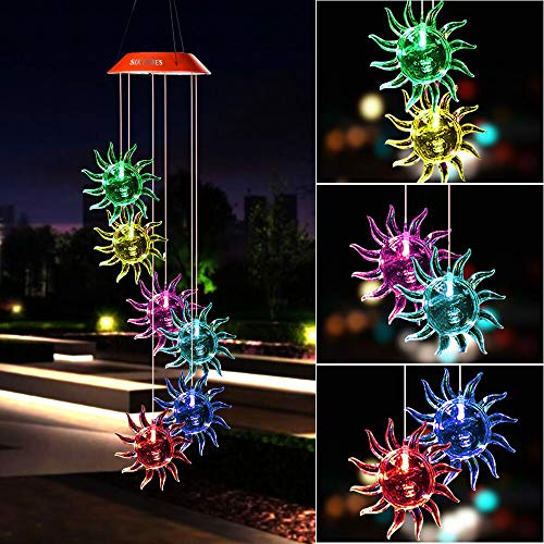 (wind chimes outdoor,Wind Chime,gifts for mom,hummingbird wind chime ,plastic hangers,mom gifts,birthday gifts for mom,birthday gift mom,grandma gifts,outdoor solar lights, Sunflower solar wind chime)