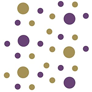 "Purple/Metallic Gold Vinyl Wall Stickers - 2"" & 4"" Circles (30 Decals)"