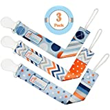 Pacifier Clip Boys and Girls by Liname - 3 Pack - Premium Quality Universal Pacifier Clip - Adorable 2-Sided Stylish Design - Soothie Pacifier Holder - Perfect Baby Shower Gift