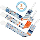Pacifier Clip Boys and Girls by Liname - 3 Pack - Premium Quality Universal Pacifier Clips - Adorable 2-Sided Stylish Design - Soothie Pacifier Holder - Perfect Baby Shower Gift