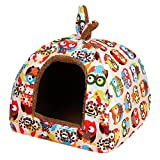 New Pet Dog House Soft Cat Rabbit Bed House Kennel Doggy Warm Cushion Basket Owl S