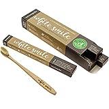 Biodegradable Toothbrush, Family Pack of 4 All Natural Bamboo Handle & All Natural Bristles - No Plastic Or Nylon - All Natural Boar Hair (Natural)