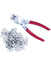 Ram-Pro 1/4 Grommet Eyelet Setter Plier, Hole Punch Tool Kit with 100 Silver Metal Eyelets Grommets.