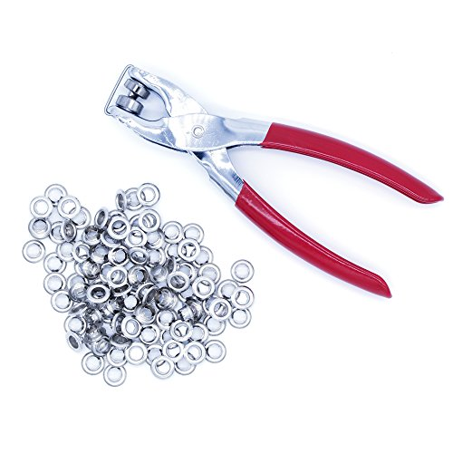 "Ram-Pro 1/4"" Grommet Eyelet Setter Plier, Hole Punch Tool Kit with 100 Silver Metal Eyelets Grommets"