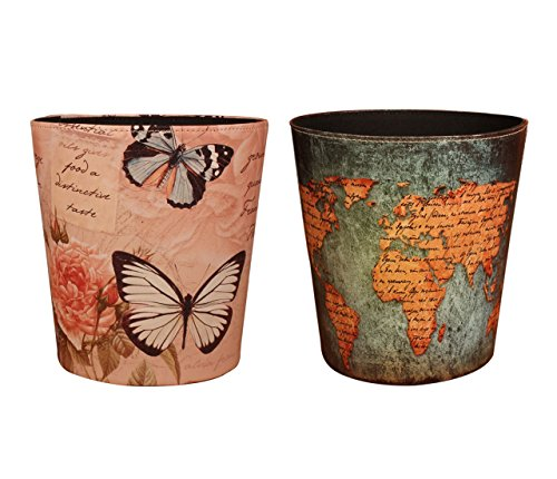 Yamix Wastebasket, European Style Retro PU Leather Wastebasket Paper Basket Trash Can Dustbin Garbage Bin Without Lid - World Map Pattern1+ Butterfly and Rose Pattern1 (Baskets Style European)