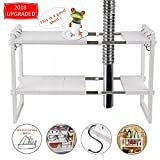 KELIXU  Expandable Under Sink Organizer  2 Tier Adjustable Shelf Organizer With 10 Removable Panels and Stainless Steel Pipes, Multifunctional Storage Rack For Kitchen, White
