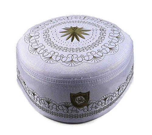 (Alwee ALW005 Muslim Prayer Hat Men Islam Kufi Headware Skull Cap Ramadan Eid Gift (23.5 Inch (59.5 cm.), White))
