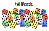 Kidsco Foam Dices Assortment - Assorted Colors - 24 Pack Traditional Style Learning Resources for Math Teaching – Great Toy, Game, Prize For Kids
