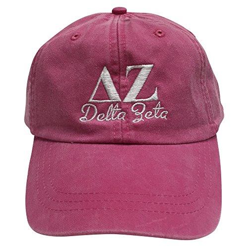 delta-zeta-script-design-hot-pink-hat-with-white-thread-hat