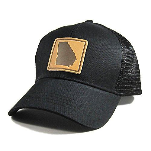Homeland Tees Men's Georgia Leather Patch All Black Trucker (Atlanta Braves Embossed Leather)