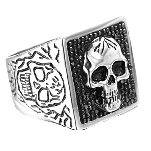 Beydodo Stainless Steel Promise Ring Iced Out Signet Ring with Skull Size 8 Mens Ring Band