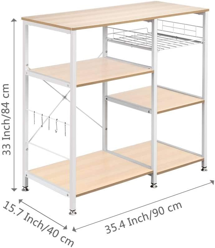 FRITHJILL Kitchen Baker Rack,3-Tier Kitchen Utility Microwave Oven Stand Storage Cart Workstation Shelf
