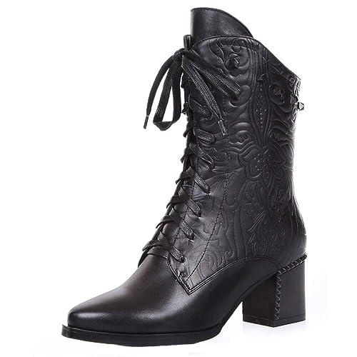 Botas De Tobillo para Mujer Botas De Cuero Genuino con Cordones Remache con Cremallera Botines Tacón Grueso Puntiagudos Martin Zapatos De Mujer: Amazon.es: ...