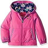 London Fog Little Girls' Floral Printed Fleece Lined Jacket, Dynamite Pink, 5/6
