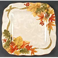 222 Fifth Autumn Celebration Square Dinner Plates, Set of 4, Harvest Thanksgiving