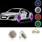 COGEEK 2 Pcs Car Waterproof Solar Energy Wheel Light Decorative Flashing LED Tire Gas cap lamp Motion Sensors
