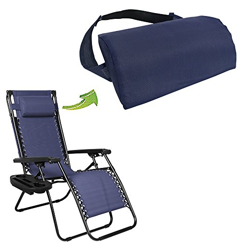 Universal Replacement Pillow headrest for Zero Gravity Chair with Elastic Band, Removable Padded headrest Pillow for Zero Gravity Chairs, Lounge Chair (Blue)