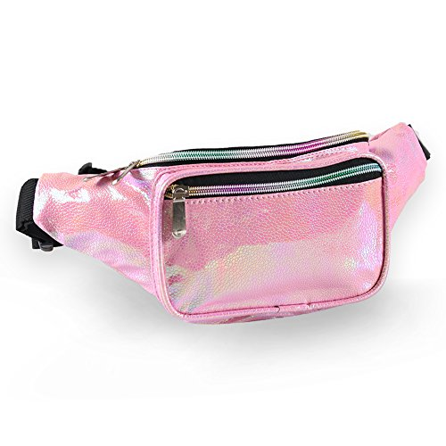 Holographic Fanny Pack for Women - Waist Fanny Pack with Adjustable Belt for Rave, Festival, Travel, Party (Pink Pearl) ()