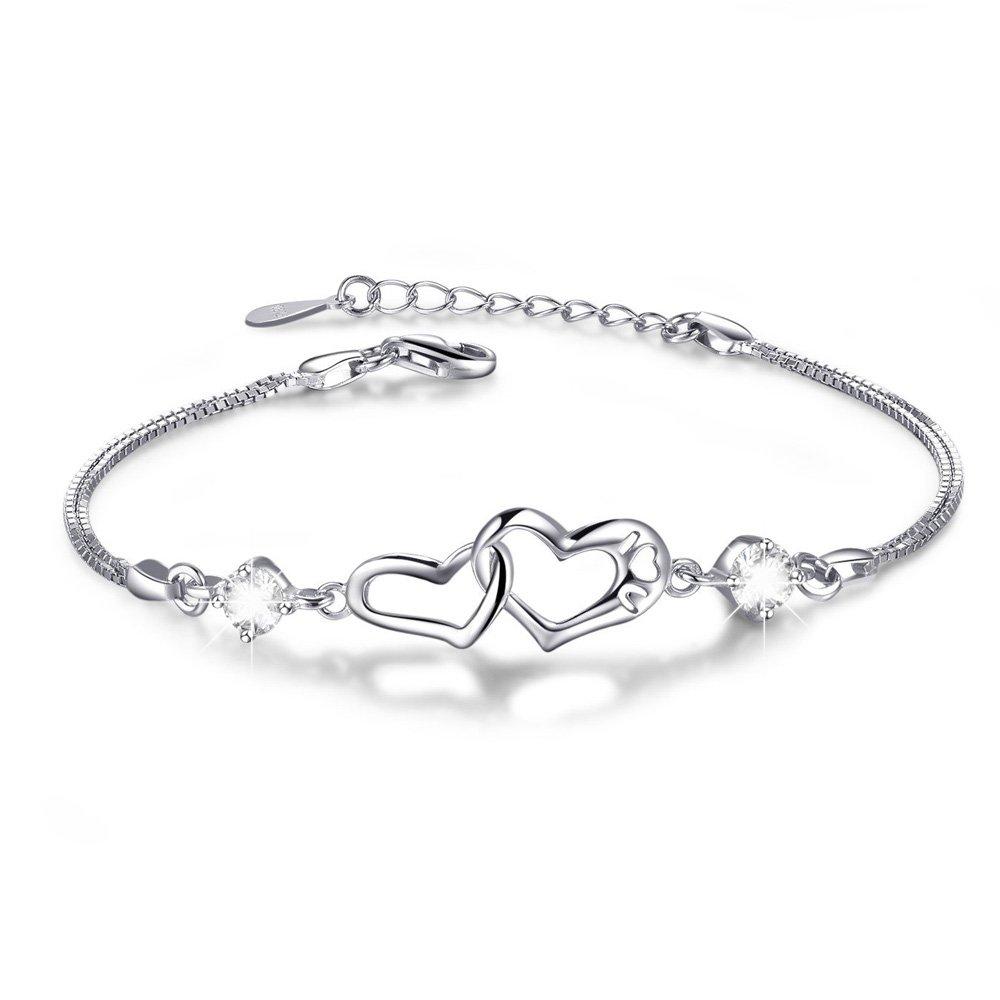 Double Heart Adjustable S925 Sterling Silver Crystal Interlocking Bracelet ,More Women Girls Girlfriend Prefer to Wear This Bracelet Everyday,Gift for Her Birthday Back to School Gift for Her Teacher
