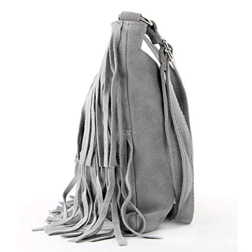 de gamuza Bolso de las Ital Gris Frans de cuero T125 bolsa del bolso bolso señoras fxwO8Sxq