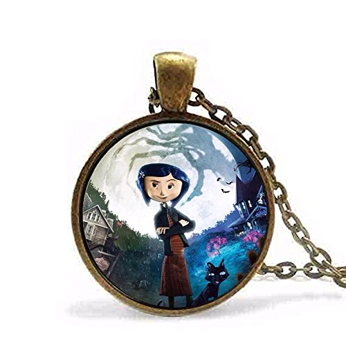 Anime-Movie-Coraline-Necklace-Vintage-Pendant-Gift-Chain-Toy-Black-Cat-Jewelry