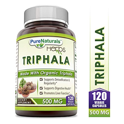 Pure Naturals Triphala 500 Mg 120 Veggie Capsules, Supports Detoxification & Regularity, Suppports Digestive Health…