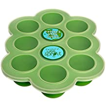 Silicone Baby Food Freezer Tray with Clip-on Lid by WeeSprout - Perfect Storage Container for Homemade Baby Food, Vegetable & Fruit Purees and Breast Milk - BPA Free & FDA Approved -Lifetime Guarantee (Green)