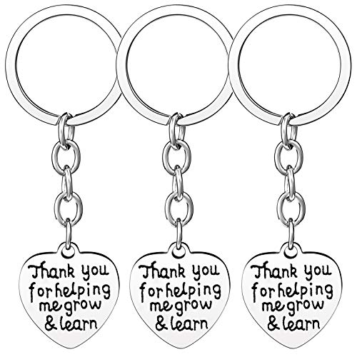 Nzztont Pack of 3 Teacher Bangles Gifts for Teacher Open School Gifts for Teachers Thank You Bangle Bracelets (3PCs Keychain Heart Style 20- Thank You for Helping Me Grow & Learn) -