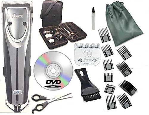 Oster 2-Speed Outlaw Dog Animal Clipper With Case,DVD,Shears And #10 Blade A5 with 10 piece comb guide set. by Oster