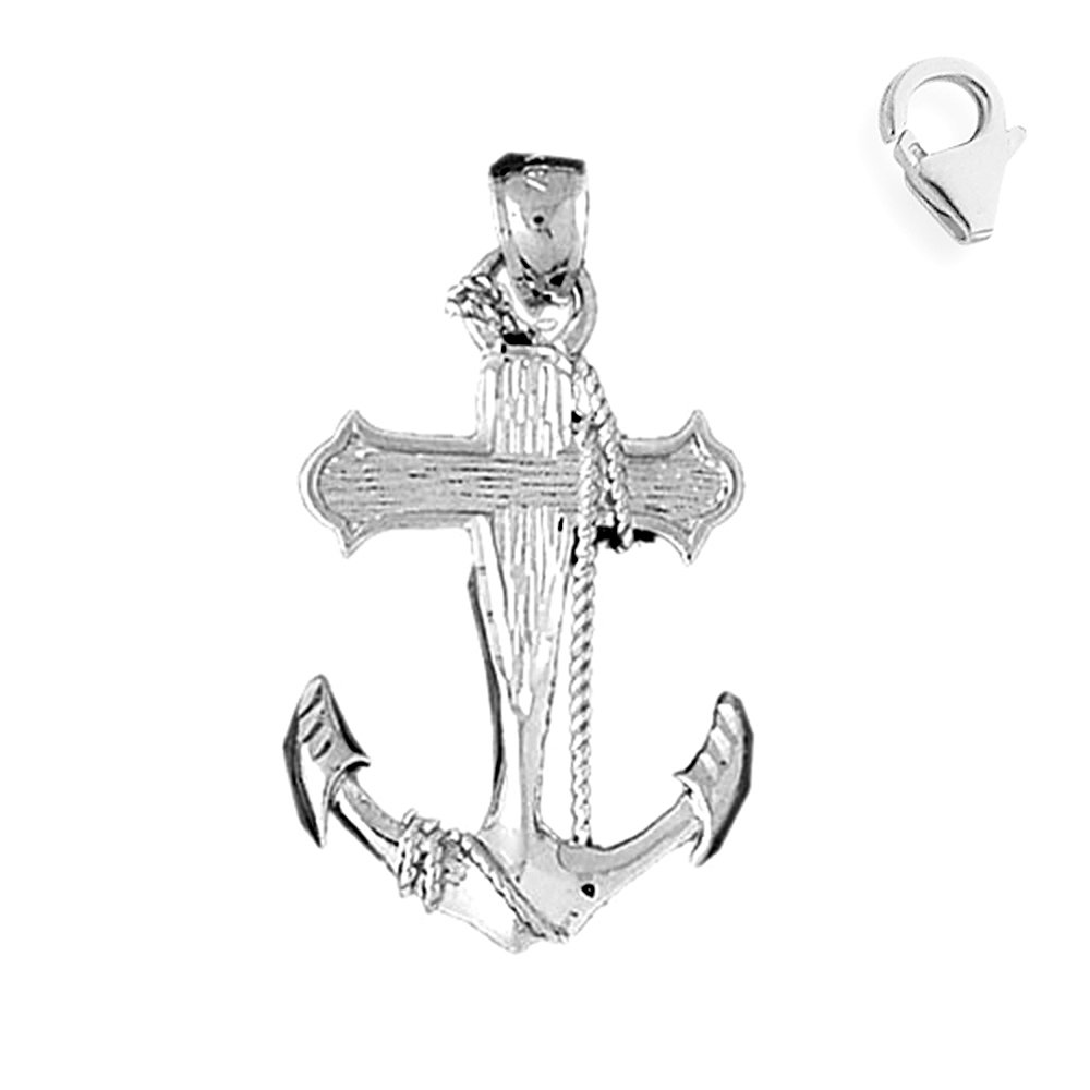 JewelsObsession Sterling Silver 37mm Anchor with Rope Charm w//Lobster Clasp