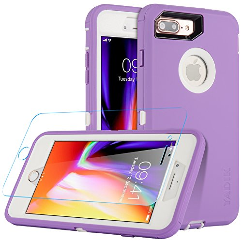iPhone 7 Plus & iPhone 8 Plus 5.5 inch Case, Yadik Shock Absorption Heavy Duty Military Grade Hybrid Silicone PC Case for iPhone 7 Plus (Purple White)