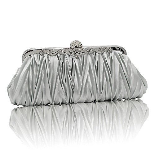 Kingluck Silk Cocktail Evening Handbags/Clutches in Gorgeous Silk More Colors Availabl (silver)