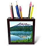 3dRose Danita Delimont - Mountains - Mt.Rainier, reflection, Mirror Lake, Mt.Rainier NP, Washington, USA - 5 inch tile pen holder (ph_279747_1)