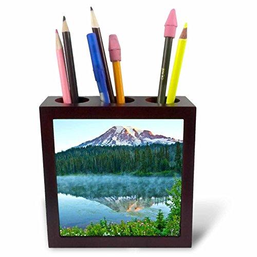3dRose Danita Delimont - Mountains - Mt.Rainier, reflection, Mirror Lake, Mt.Rainier NP, Washington, USA - 5 inch tile pen holder (ph_279747_1) by 3dRose