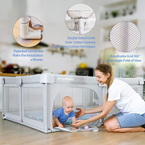 51BjkR2bd5L - ANGELBLISS Baby Playpen, Playpens For Babies, Kids Safety Play Center Yard Portable Playard Play Pen With Gate For Infants And Babies,Extra Large Playard, Indoor And Outdoor, Anti-Fall Playpen(Gray)
