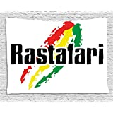 Rasta Tapestry by Ambesonne, Reggae Rastafari Lettering on Grunge Design Flag Colors Backdrop Art Print, Wall Hanging for Bedroom Living Room Dorm, 60 W X 40 L Inches, Red Green and Yellow